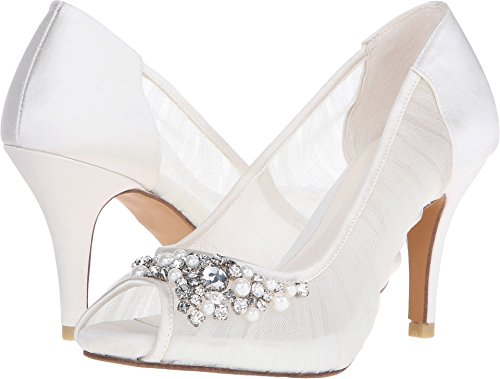 Menbur Women's Kashia Beaded Pump,Ivory Beaded/Mesh,US 39 M (Ivory Leather Peep Toe Pumps)