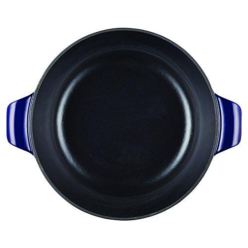 Anolon Vesta Cast Iron Cookware Round Covered Casserole, 5 quart, Cobalt Blue