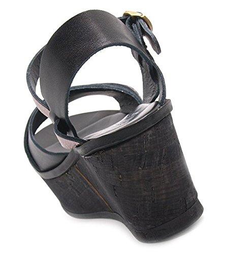 Lili Mill Sandales femmes dessus cuir semelle en caoutchouc 7 cm calage haute platform battu 3 et 4 cm.