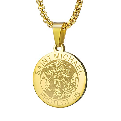 Wolentty Saint Michael Necklace - 1 Inch Stainless Steel Round St. Michael Religious Medal Pendant Hanging with 24