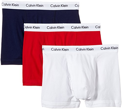 Calvin Klein Cotton Stretch Pack of 3 Boxer Shorts Medium White/Red/Blue (Best Boxer Shorts Uk)