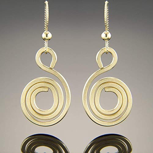 Spiral Swirl Circle Dangle Earrings Handcrafted in 14K Yellow Gold Fill, Fun Gift for Her