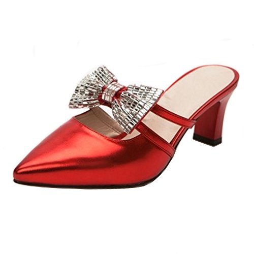 TAOFFEN Women Summer Shoes Closed Toe Heels Mules Red-9 ME9ABPQqx
