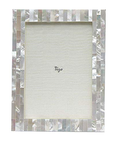 Tozai Home Tizo 5x7 White Mother of Pearl Frame, Made in Italy