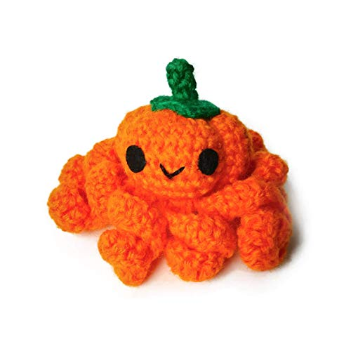 Handmade amigurumi crochet pumpkin octopus by Geekirumi! - Micro preemie therapy toy - Halloween edition
