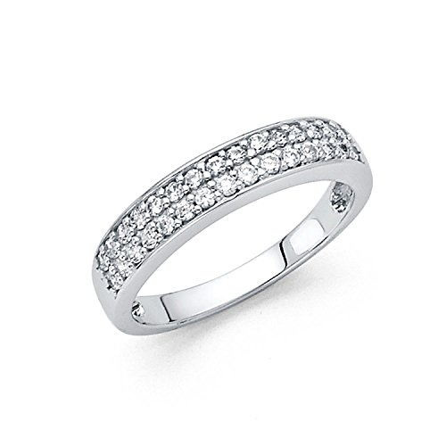 Size 8 - 3mm Solid 14K White Gold Two Rows Round Cut Pave Set Wedding Band Ring (0.75 cttw.) Two Row Pave