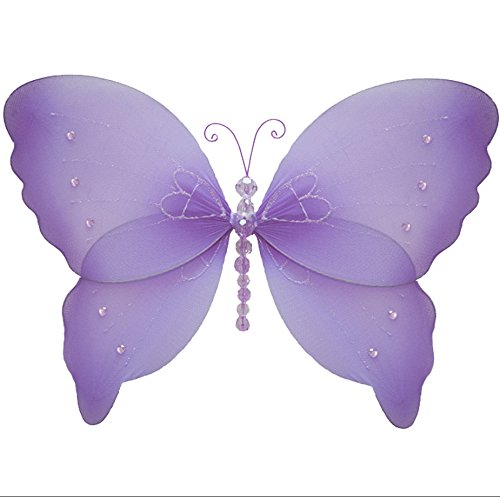 "Butterfly Decorations 13"" Large Purple Lavender Crystal Nylon Hanging Butterflies. Decorate a Baby Nursery Bedroom, Girls Room Ceiling Wall Decor, Wedding Birthday Party, Bridal Baby Shower, Bathroom. Kids Childrens Butterfly Decoration 3D Art Craft"
