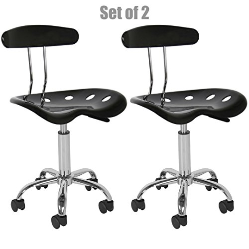New Modern Adjustable Barstools ABS Tractor Seat 360 Degree Swivel Home Office Computer Dining Chair Black - Set Of 2 #1082 (Target Bar Stools Sale)
