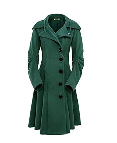 ksiachape Lapel Single Breasted Slim Coat Female Winter Coat Female Irregular Hem Green L by ksiachape