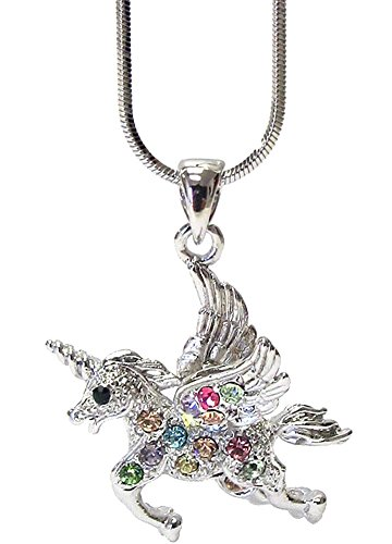 [Small Magical Silver Tone Flying Unicorn Necklace with Multicolored Crystals Jewelry Gift for Girls Teens] (Anna Costume Ideas)