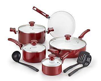 T-fal c992se Chef - Batería de cocina de cerámica, juego de 12, Red: Amazon.es: Hogar