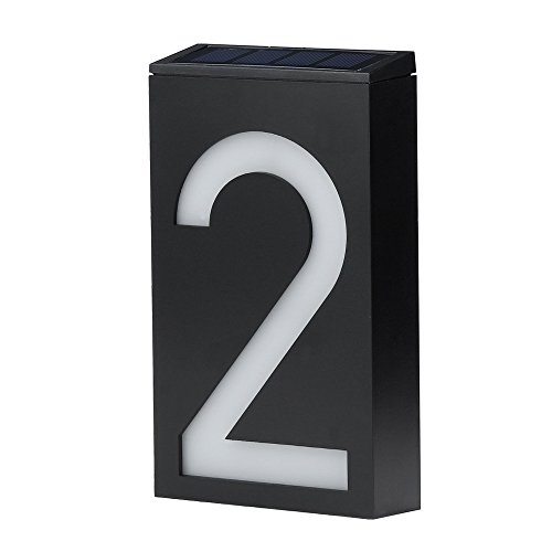 Home Address Sign Solar Power LED Light House Hotel Office Number Sign Address Number Plaque Sign for Mailbox/Door/Apartment/Hotel (B)