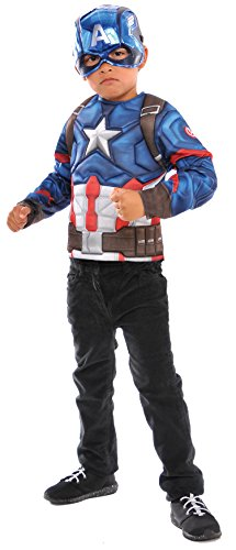 Rubies Boys Captain America Super Costume Top Set, Red/White/Blue, One Size