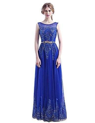 Ausschnitt Abendkleider Königsblau ärmel A Gürtel O Taille Beauty Linie Rüschen Emily Pailletten xnTwqPC0v6