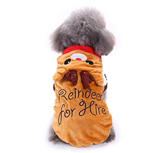 Amakunft Dog Party Costume, Pet Dog Pajamas Festival Santa Claus Rudolph Deer Dress Clothing for Christmas Day Warm Jumpsuit Hoodie Interesting Coat for $<!--$11.59-->