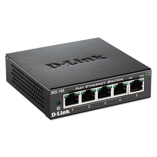 D-Link DES105 5-Port Fast Ethernet Switch, Unmanaged by D-Link