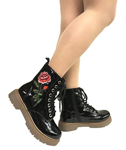 Black Gerda Lace Leatherette Embroidered Patent Boots up Soda Combat Rose Women's AwFqB