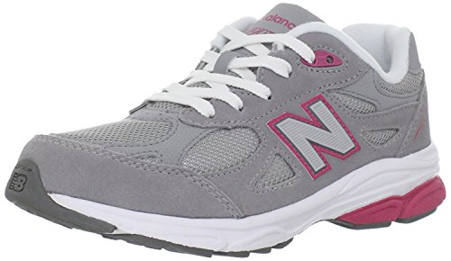 New Balance - - Unisex-Kind-990v3 Grade School Laufschuhe Dark Grey/Yellow Trim With Yellow Laces