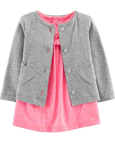 (Carter's Baby Girls' 2-Piece Bodysuit Dress and Cardigan Sets (Pink Polka Dot/Grey Hearts, 9 Months))
