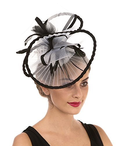 Lucky Leaf Women Girl Fascinators Hair Clip Hairpin Hat Feather Cocktail Wedding Tea Party Hat (2-White) ()