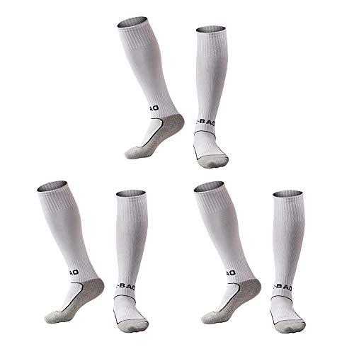 - Welltree Boys & Girls Knee High Cotton Soccer Socks/Kids Football Sport Long Socks (Kid/Youth)/3 Pack White