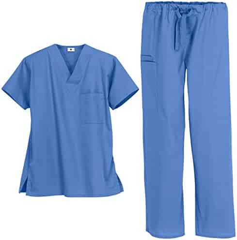 2722d8363df Unisex Medical Uniform Scrub Set – Includes V-Neck Top with 1 Pocket and  Drawstring