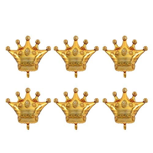 6PCS Crown Balloons Foil Helium Mylar Balloons for Birthday Wedding Halloween Christmas Party Decoration - Golden