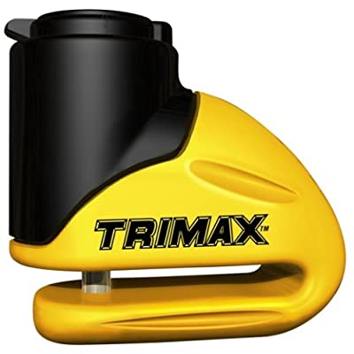 Trimax T645S Hardened Metal Disc Lock - Yellow 5.5mm Pin (Short Throat) with Pouch & Reminder Cable: Automotive