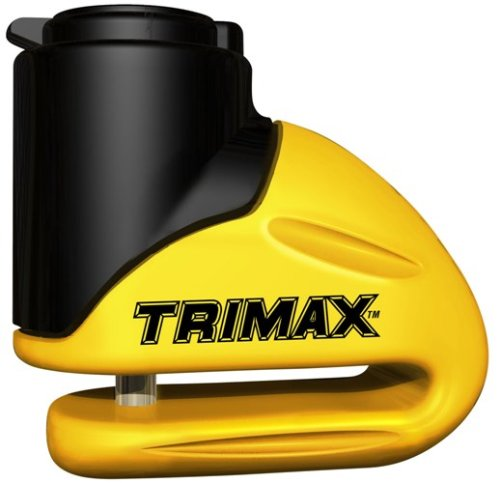 Trimax T645S Hardened Metal Disc Lock - Yellow 5.5mm Pin (Short Throat) with Pouch & Reminder Cable by Trimax