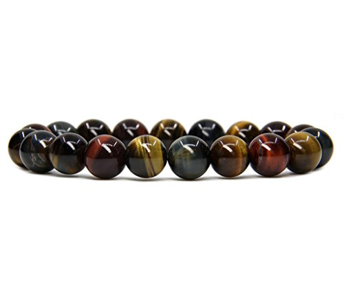 Bracelets Genuine Orange (AA Grade Multicolor Tiger Eye Natural Genuine Semi Precious Gemstones Healing 10mm Beaded Stretch Bracelet 7