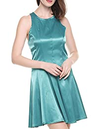 Women's Summer Chiffon Deep V Neck Faux Wrap Cocktail Party Dress