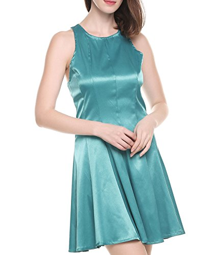 ANGVNS Women's A Line Sleeveless Pleated Satin Cocktail Party Dress Blue S