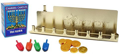 Chanukah Mini Kit - Gold Colored Tin Menorah, 44 Colored Candles, Complete Hanukkah Guide Booklet, 4 Colored Dreidels, Sack of Hanuka Chocolate Coins Gelt - All in 1 Set -