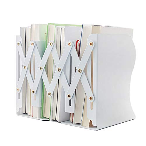 JIARI Simple Nature Style White Decorative Metal Iron Bookends Holder Stand Desk Nonskid Adjustable Bookend (White)