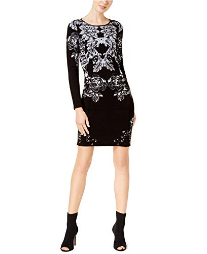INC International Concepts Women's Printed Faux Leather Trim Sweater-dress