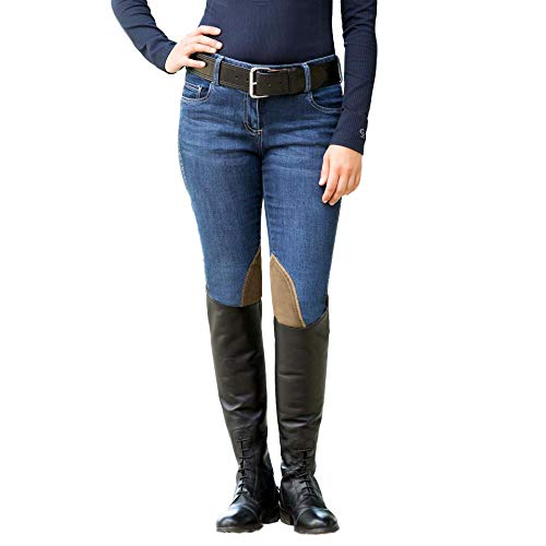 Goode Rider Ladies' Equestrian Jean Knee-Patch Breech, Size 26L, Antique Wash ()