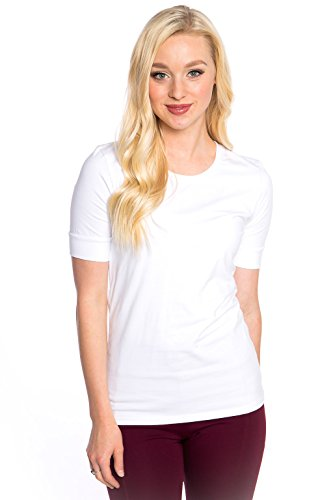 Heirloom 1/2 Sleeve Tee with Cuff, Scoop Neckline, Extra Length Slim Fit (White, L)