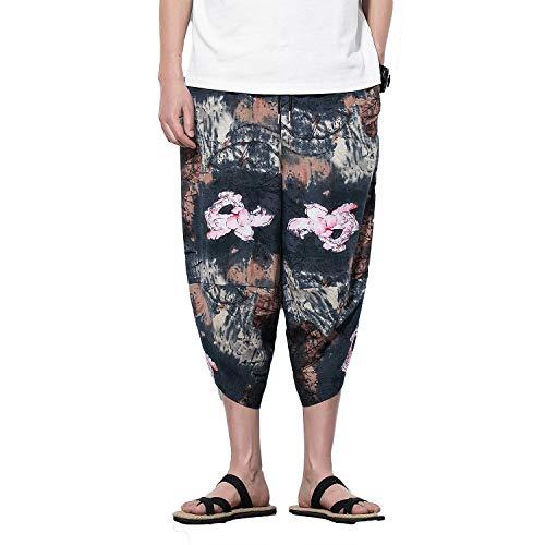 e0b979c28f PRIJOUHE Men's Harem Capri Pants, Wide Leg Mens Capris, Summer Linen Pants