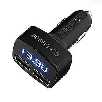 Triamisu 4-en-1 Doble Cargador USB para Coche Pantalla LED Digital DC 5V 3.1A Adaptador Universal con medidor de Corriente y Voltaje Medidor de ...