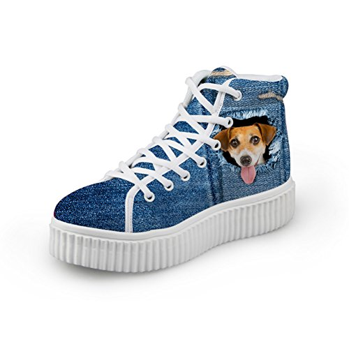 Imprimé Haute Couleur Chaussures Showudesigns 5 Chat Sneakers Plate Denim Top Animal Chien forme La Bleu De AqSqIwB1Y