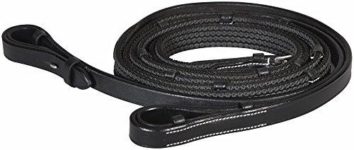 Henri de Rivel Rubber Lined Web Reins (Horse, Black)
