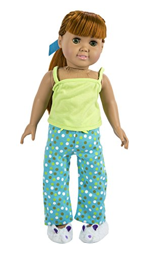 The Springfield Collection by Fibre-Craft Pajama Outfit, Green Top, Dot Pants, Slippers and Ribbon