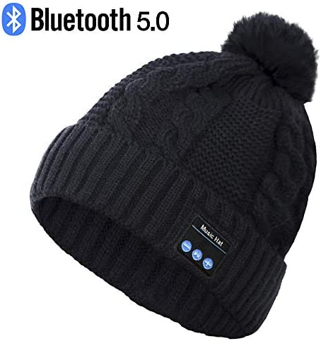 Bluetooth Hat, Wireless Headphone Beanie, Gifts for Women, Pom Pom Beanie with Bluetooth Speakers, Bobble Hat with Wireless Headphones, Best Gifts for Teenagers, Women, Lovers