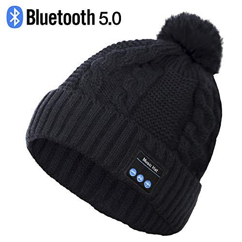 Bluetooth Hat, Wireless Headphone Beanie, Gifts for Women, Pom Pom Beanie with Bluetooth Speakers, Bobble Hat with Wireless Headphones, Best Gifts for Teenagers, Women, Lovers