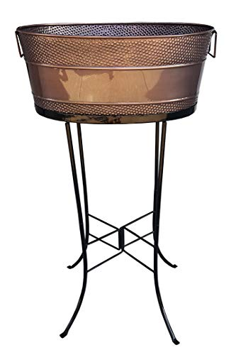 BREKX Aspen Copper Finish Hammered Galvanized Beverage Tub w/Iron Stand - 25 Quart