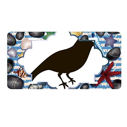 DIYthinker Black Sparrow Animal Portrayal License Plate Car Decoration Ocean Stone Starfish ()
