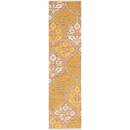 (Ruffin Traditional Persian 2' x 8' Runner Transitional 100% Cotton Wheat/White/Bright Yellow Runner)