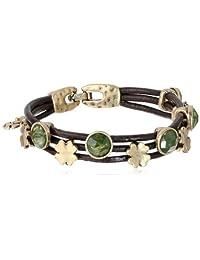 """Lucky Brand Green Stone Woven Bracelet, 7.5"""""""