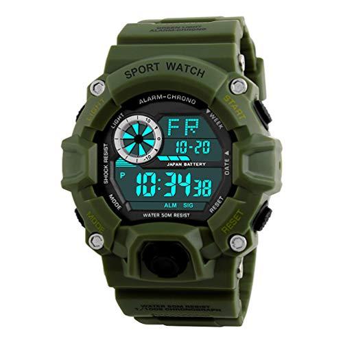 (VIGOROSO Men's Military Wrist Watch Camouflage Army Fan LED Digital Sport Date Watches (Green))