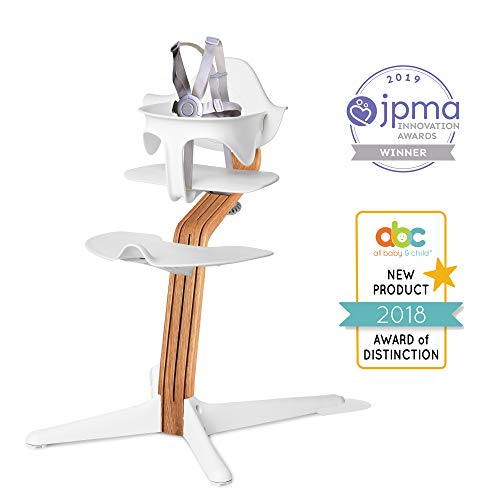 Oak High Chair - Nomi High Chair, White - Premium Natural Oak Wood, Modern Scandinavian Design with a Strong Wooden Stem, Baby Through Teenager and Beyond with Seamless Adjustability, Award Winning Highchair